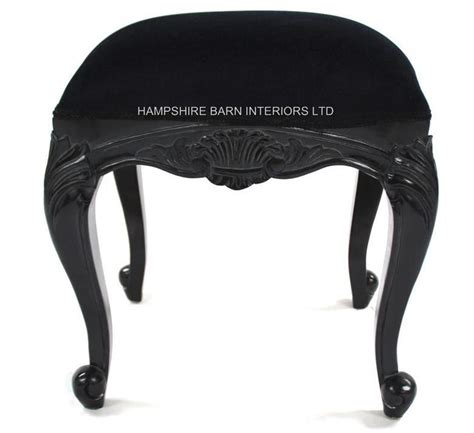 french chateau noir style ornate chair black velvet chateau french style black painted stool with black velvet