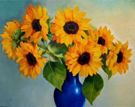 Sunflowers In Vase by Nel S Everyday Painting Sunflowers In Blue Vase