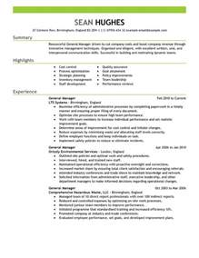 General Manager Resume Exle by 11 Amazing Management Resume Exles Livecareer