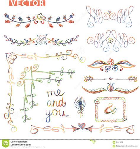 free pencil sketch up doodle theme doodle border corner decor set stock vector image 61827258