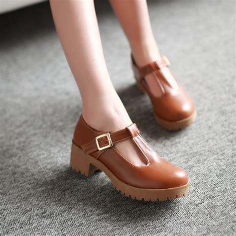 Sepatu Sandal Big Heels Tahu T fashion toe t thick heel pumps vintage low heeled casual shoes oxford