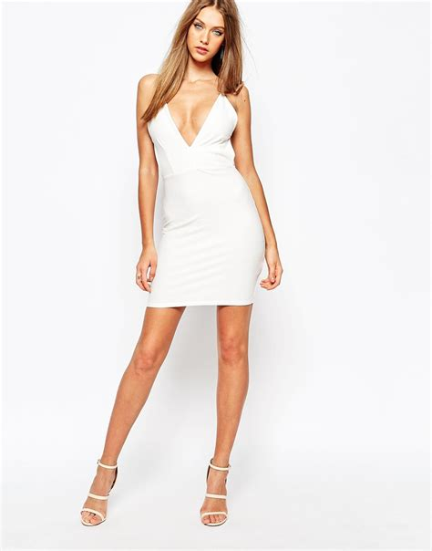 Mini Dress White Nerima lyst missguided white plunge neck mini dress in white
