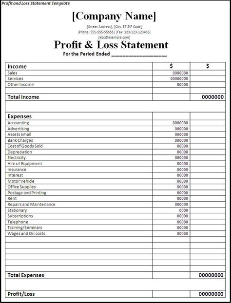 profit  loss statement template  word templates
