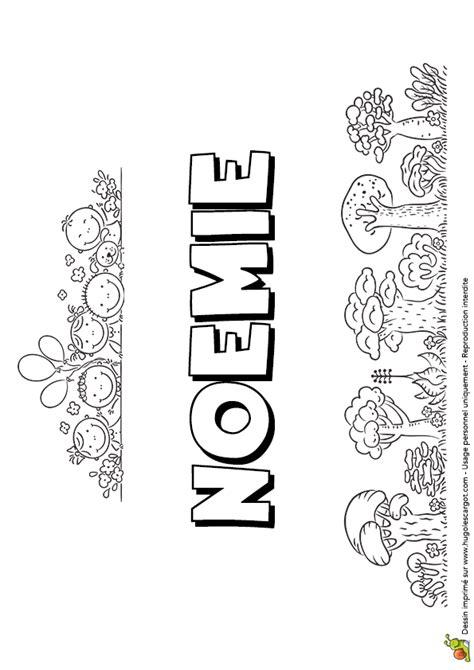 Dessin à colorier du prénom Noemie, version petite colline