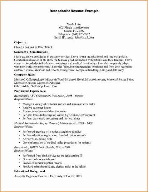 Sle Resume For Fresher Receptionist Resume Format For Receptionist Fresher 28 Images Sle Resume Receptionist Salesman Resume Pdf
