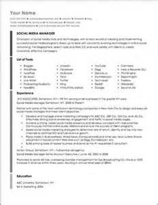 Social Media Resume Exles by Social Media Manager Resume Sle