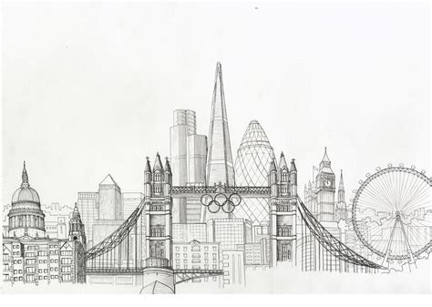 new york city skyline drawing sketches city skylines empire state building and