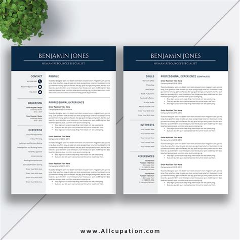 Professional And Modern Resume Template For Ms Office Word With User Guide And Fonts Guide For 2 Page Resume Templates Free