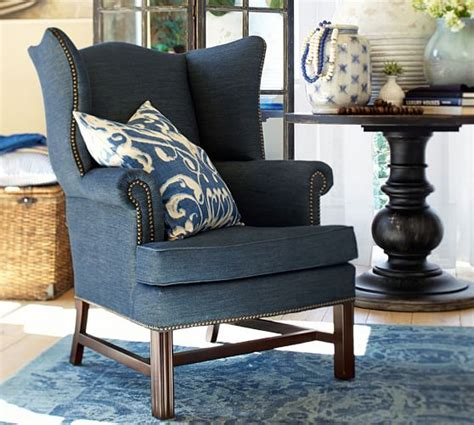 Stool Sofa Vintage Klasik Denim sale thatcher upholstered wingback chair pottery barn