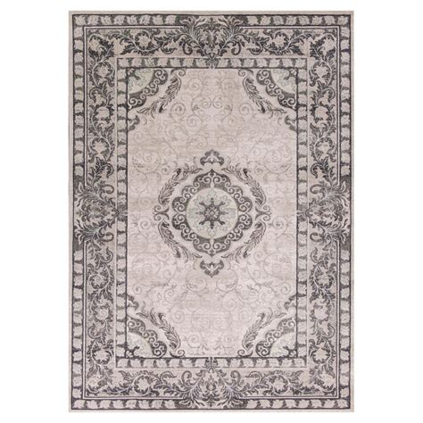 grey medallion rug imperial medallion grey 3 ft 3 in x 4 ft 11 in area rug chd490133x411 the home depot