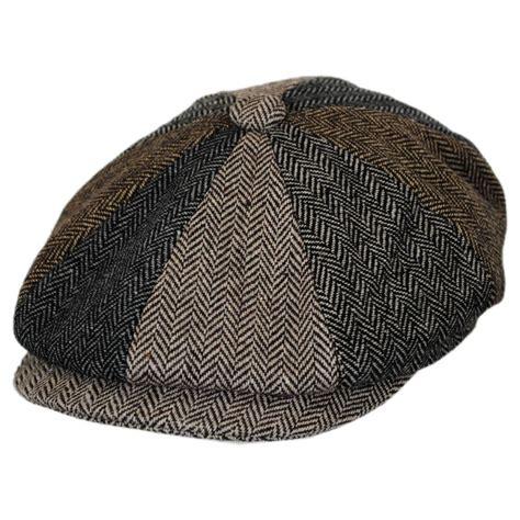 Herringbone Newsboy Cap jaxon hats herringbone patchwork wool blend newsboy cap