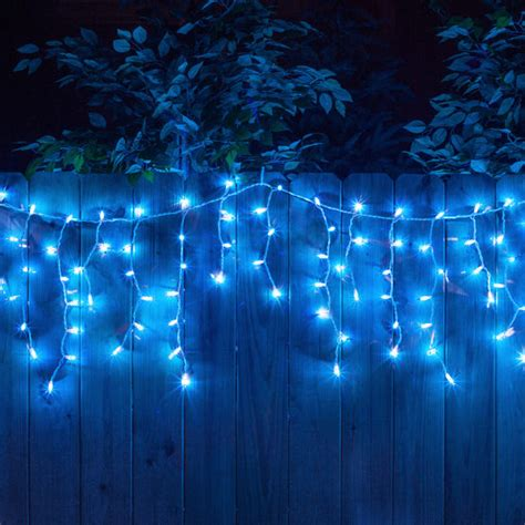 150 icicle lights blue white wire yard envy