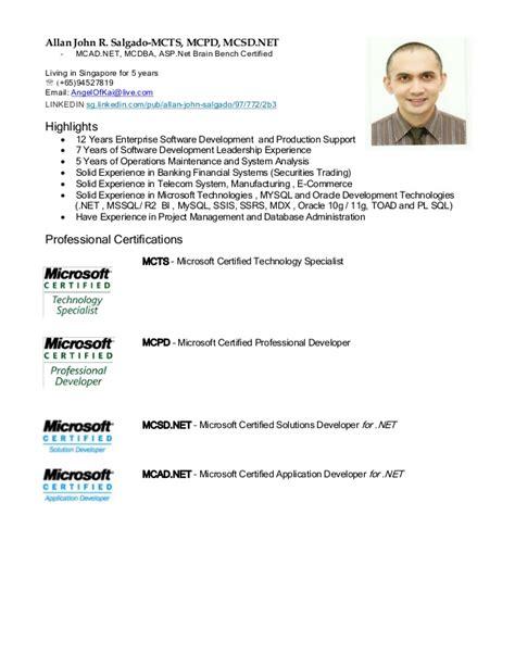 Sle Resume With Microsoft Certification Logo Allan John R Salgado Mcsd Net Mcts Mcpd Resume Linkedin