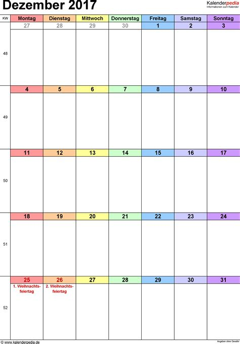 Kalender 2017 Dezember Kalender Dezember 2017 Als Excel Vorlagen