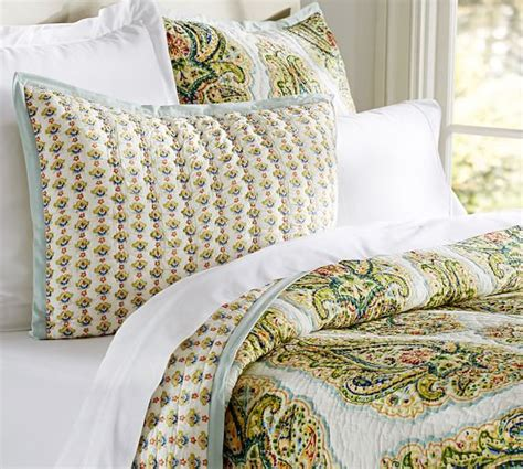 Quilts With Shams Quinn Wholecloth Quilt Sham Pottery Barn
