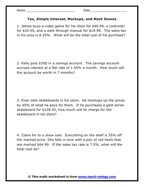 Interest Worksheets by Simple And Compound Interest Word Problems Worksheet