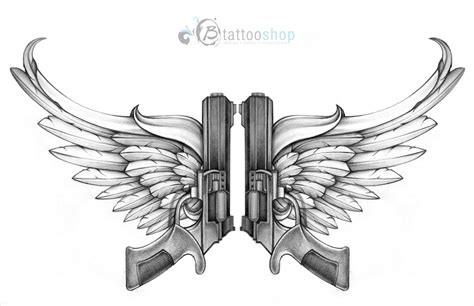 tattoo pattern wings guns with wings custom tattoo illustration by sunny at b