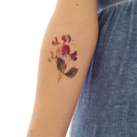 vintage floral temporary tattoo sweet pea by