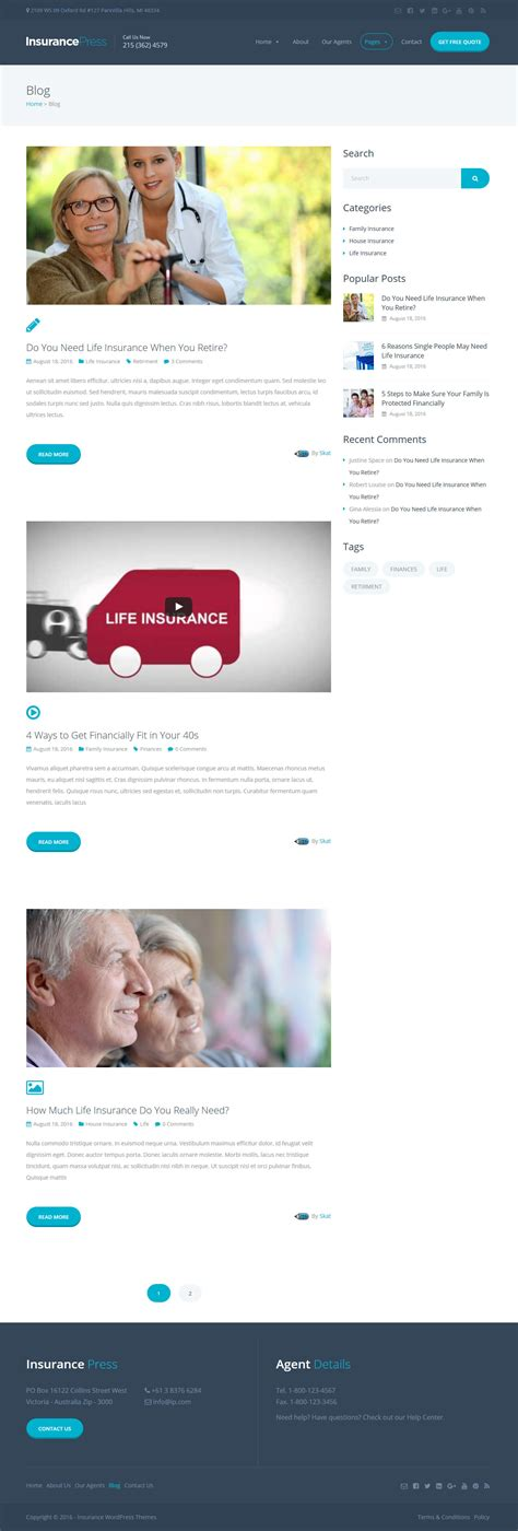 themeforest insurance theme insurance press insurance agency wordpress theme by