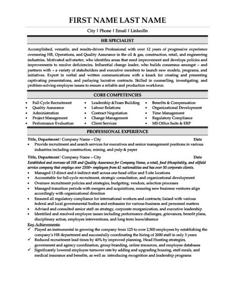 Human Resource Specialist Cover Letter by Hr Specialist Resume Template Premium Resume Sles Exle