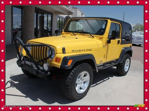 jeep rubicon yellow 2004 solar yellow jeep wrangler rubicon 4x4 49135793