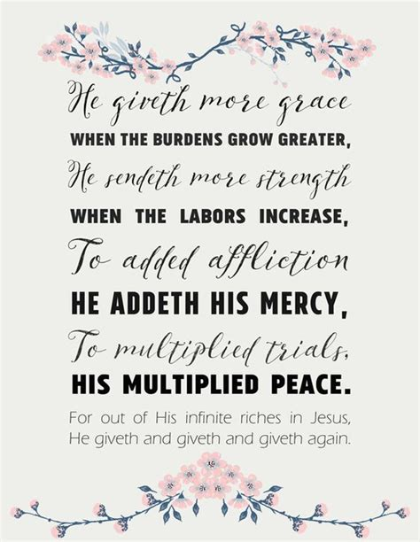 printable hymn lyrics hymn lyrics printable he giveth more grace quot he giveth