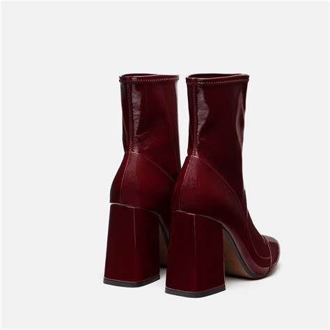 sock boots vogue zara high heel sock style ankle boots in purple burgundy