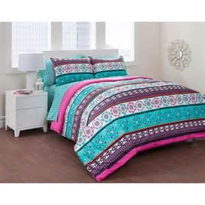 girls teal blue pink trendy global stripe comforter