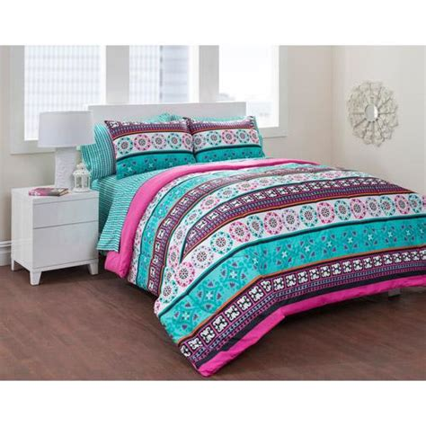 girls teal blue pink trendy global stripe comforter