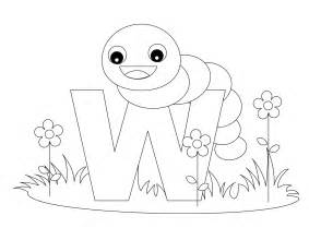 Animal alphabet coloring letter w coloring