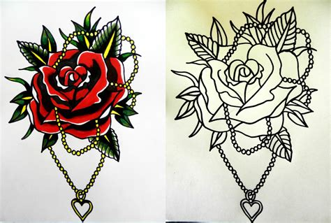 tattoo flash rose call me conboy traditonal design