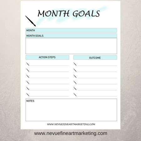 month goals printable nevue fine art marketing