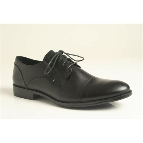 rieker rieker lace up shoe with toe cap in black leather