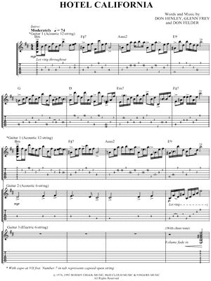 printable lyrics hotel california the eagles quot hotel california quot guitar tab download print