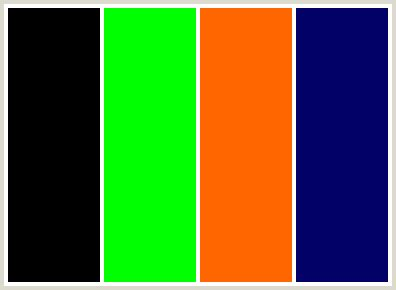 colors that go with green colorcombo9 with hex colors 000000 00ff00 ff6600 000066