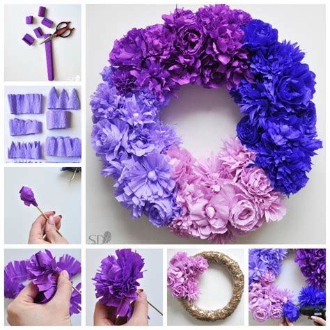 Halloween Wreath creative ideas diy ombre crepe paper flower wreath