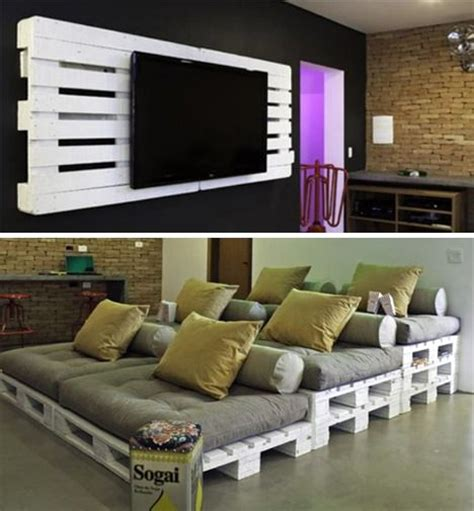 Home Theater Decorations Cheap by Cheap And Easy Pallet Home Theater Ideas Could Bust This