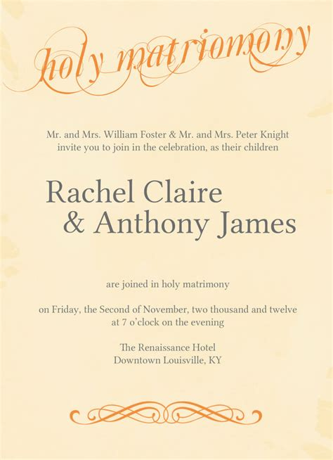 Wedding Invitation Holy Matrimony by Wedding Invitation Wording Holy Matrimony Yaseen For