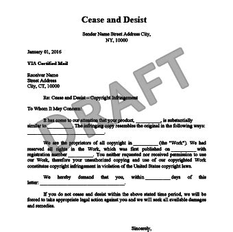 cease and desist letter template slander free docoments