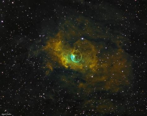 bubble nebula pops green  gold  stunning photo space