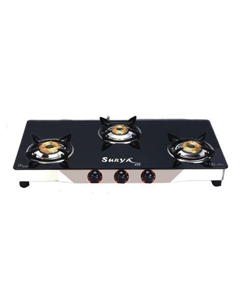 3 Burner Cooktop Surya Ave 3 Burner Manual Black Gas Cooktop Price In India