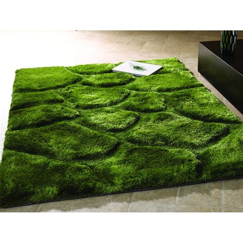 Modern Green Rug Flair Rugs Verge Polyester Green Rectangular Contemporary Rug Leader Floors