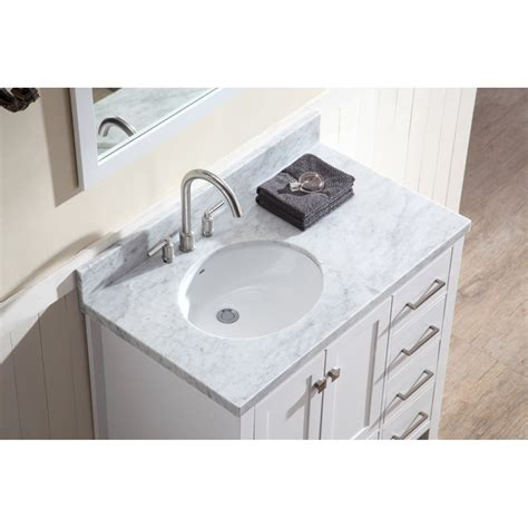 Offset Sink Vanity Top by Ariel Bath A037s L Wht Cambridge 37 Single Sink Vanity Set