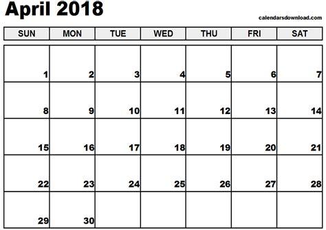 printable calendar 2018 april april 2018 calendar