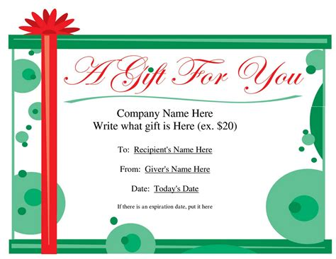 gift certificates free search results for gift certificate template