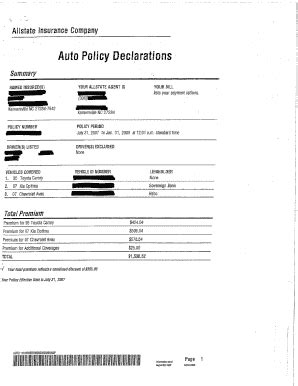 Gmi Auto Insurance Declaration Page Fill Online Printable Fillable Blank Pdffiller Car Insurance Form Template