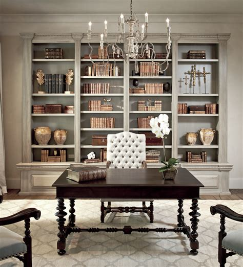 Ladder Bookcase With Desk Distressed Built In Cabinets French Den Library Office
