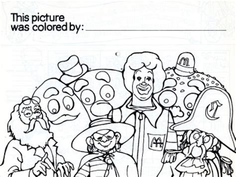 ronald mcdonald colouring pages