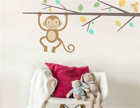wall stickers children children s monkey branch wall sticker contemporary wall