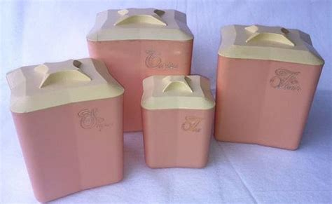 pink kitchen canister set retro vintage pink plastic kitchen canister set by